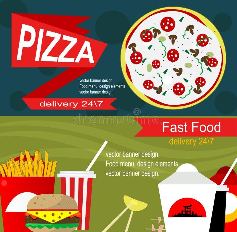Concepto de diseño de la bandera de los alimentos de preparación rápida libre illustration
