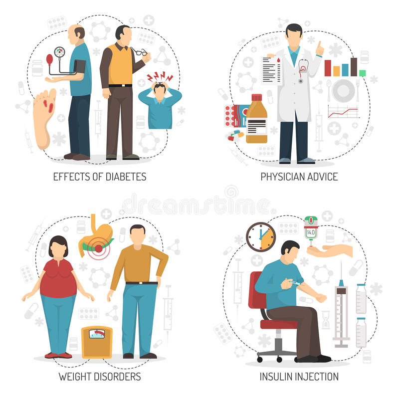 Concepto de diseño de la diabetes 2x2 ilustración del vector