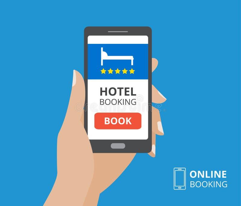 Concepto de diseño de la reservación de hotel en línea Dé llevar a cabo smartphone con el botón del libro y el icono de la cama e ilustración del vector