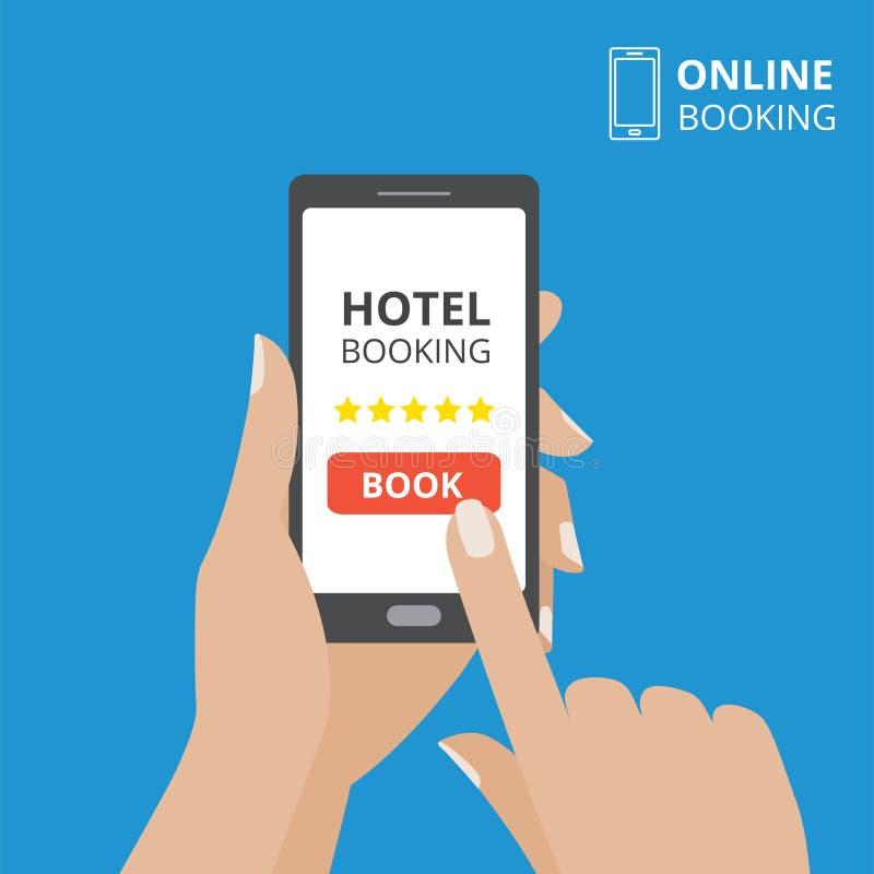 Concepto de diseño de la reservación de hotel en línea Dé sostener smartphone con el botón del libro en la pantalla stock de ilustración