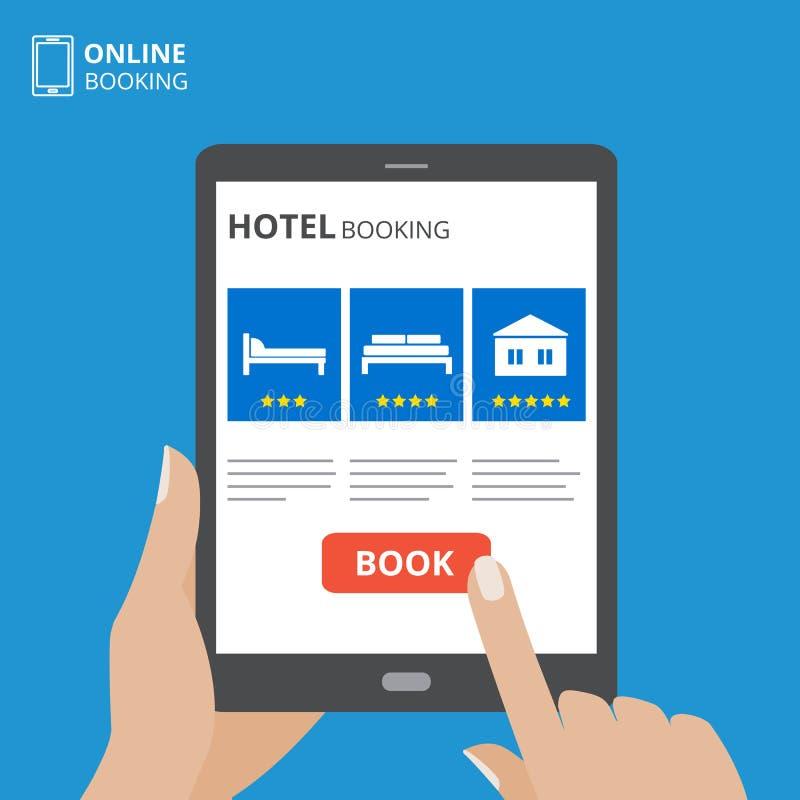 Concepto de diseño de la reservación de hotel en línea Tableta con la mano que toca una pantalla Exhibición con el botón y la cam stock de ilustración