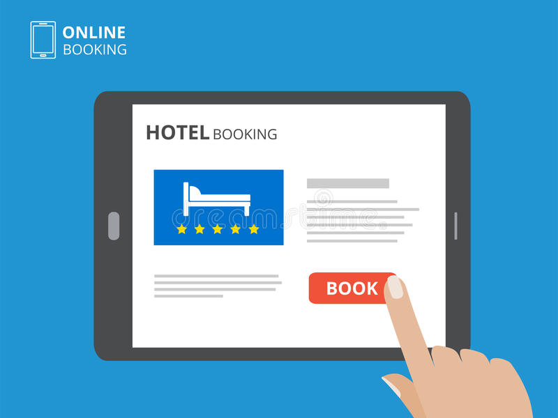 Concepto de diseño de la reservación de hotel en línea Tableta con la mano que toca una pantalla Exhibición con el botón y la cam libre illustration