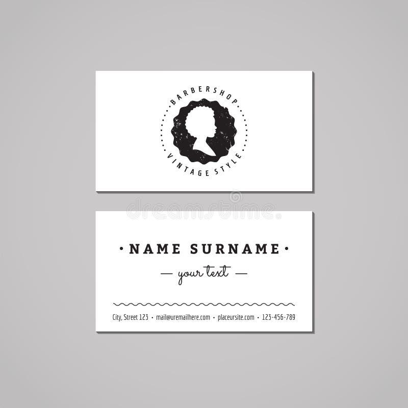 Concepto de diseño de la tarjeta de visita de la barbería Logotipo-insignia de la barbería con perfil afroamericano de la mujer E libre illustration