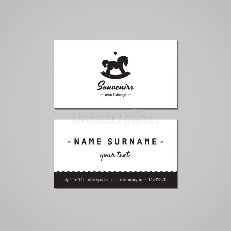 Concepto de diseño de la tienda de regalos y de la tarjeta de visita de los recuerdos Logotipo del inconformista de la tienda de  ilustración del vector