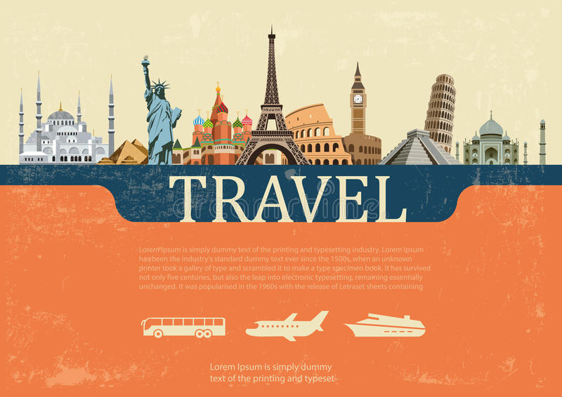 Concepto de diseño de las señales del mundo del viaje, ejemplo del vector stock de ilustración