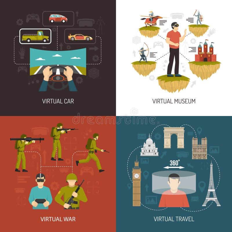 Concepto de diseño de los juegos 2x2 de la realidad virtual ilustración del vector