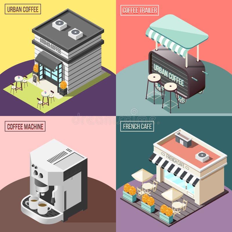 Concepto de diseño del café 2x2 de la calle stock de ilustración