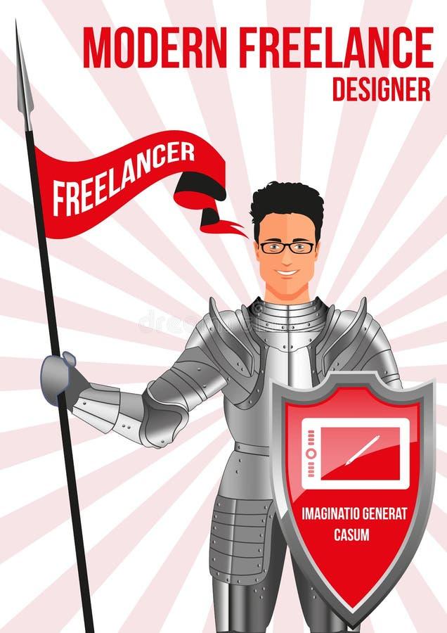 Concepto de diseño del freelancer del diseñador stock de ilustración