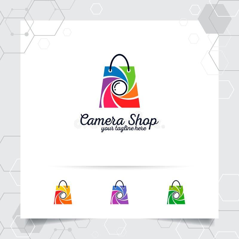 Concepto de diseño del logotipo del bolso de compras del icono en línea de la tienda y del vector de la lente de cámara usados pa stock de ilustración