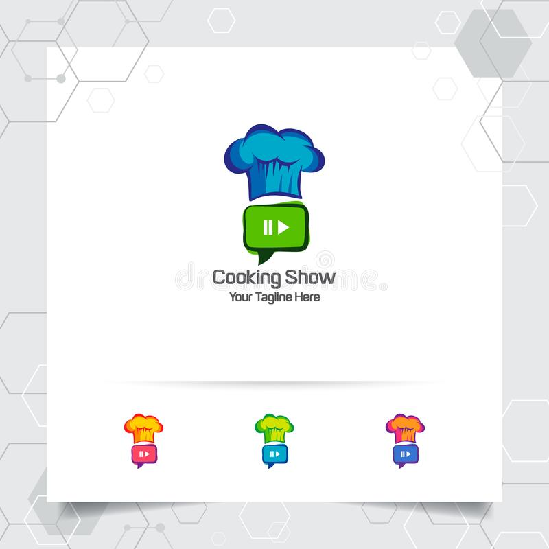 Concepto de diseño del logotipo del calor del cocinero de cocinar tutoriales y recetas Icono del logotipo del restaurante para el stock de ilustración