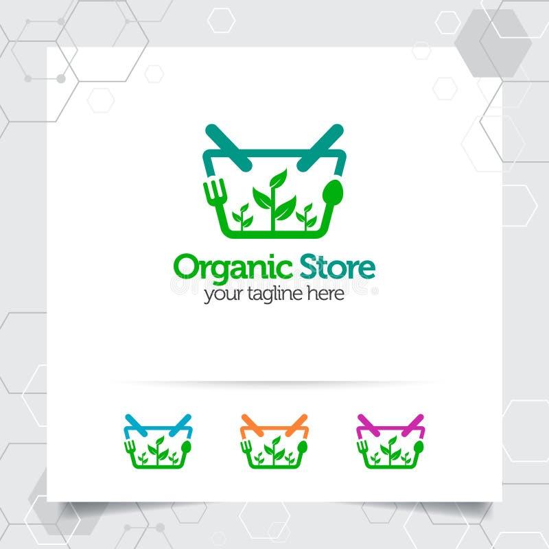 Concepto de diseño del logotipo del carro de la compra del icono en línea de la tienda y del vector vegetal orgánico usados para  libre illustration