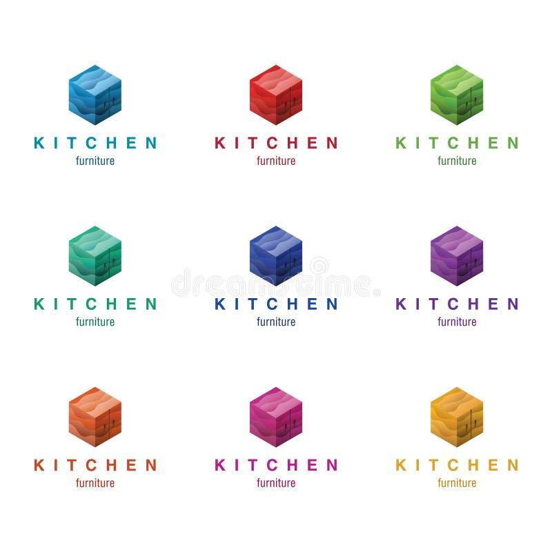 Concepto de diseño del logotipo de los muebles (cocina y otros muebles) Diversos colores variables ilustración del vector