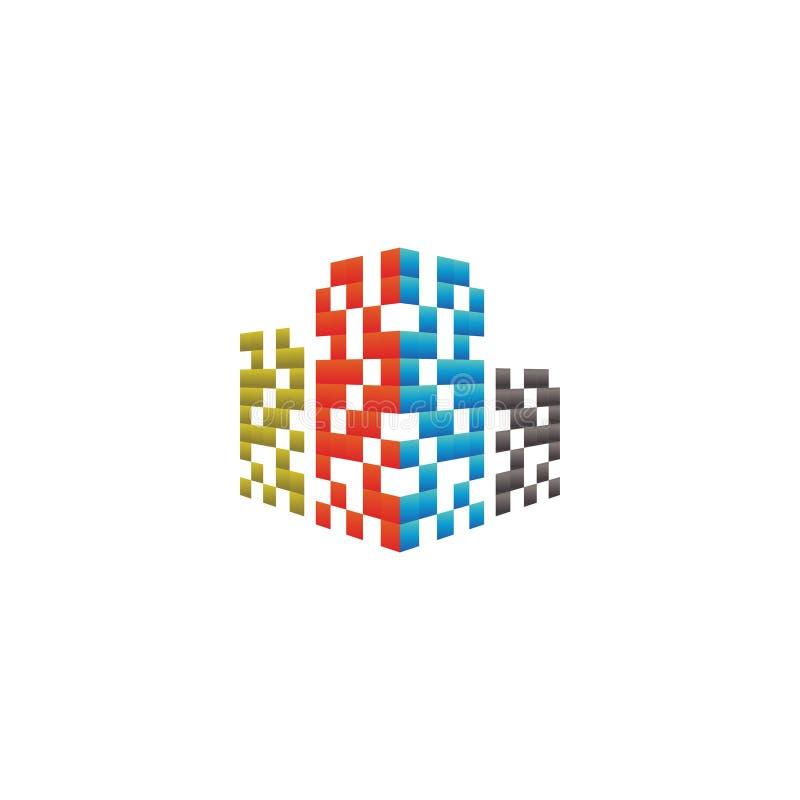 Concepto de diseño del logotipo del edificio de las propiedades inmobiliarias ilustración del vector