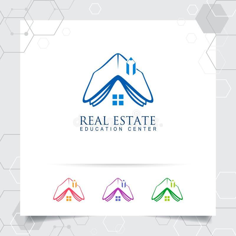Concepto de diseño del logotipo del hogar de la casa del vector del libro y del icono del lápiz Logotipo de las propiedades inmob libre illustration