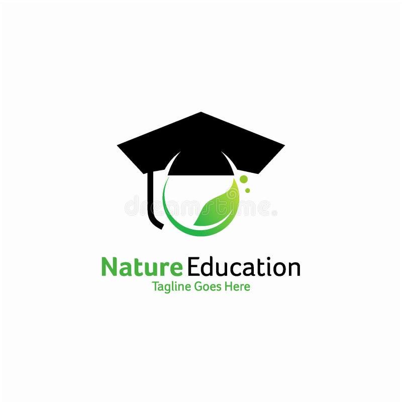 Concepto de diseño del logotipo de la educación de la naturaleza, plantilla del logotipo de la educación ilustración del vector