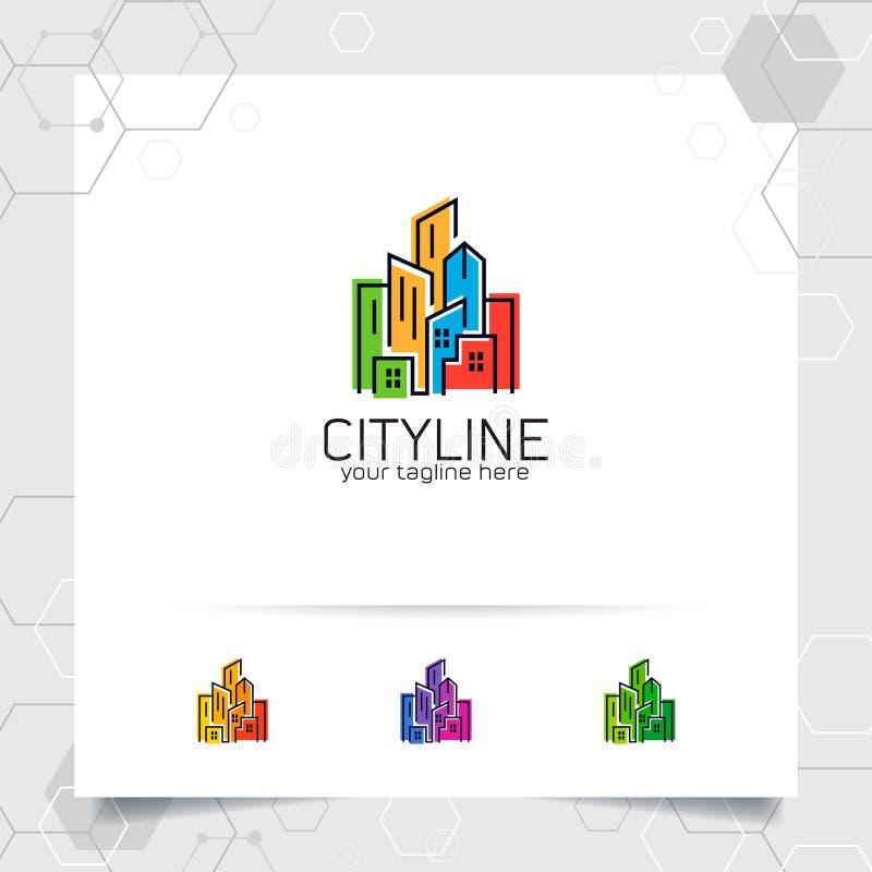 Concepto de diseño del logotipo de las propiedades inmobiliarias del icono y del edificio del apartamento Vector del logotipo de  ilustración del vector
