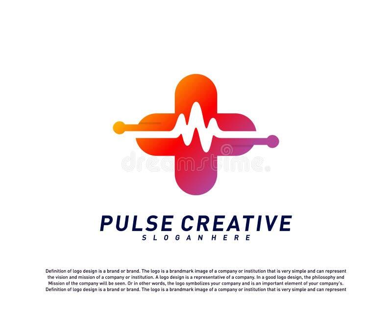 Concepto de diseño del logotipo médico más del pulso o de la onda Vector de la plantilla del logotipo del pulso de la atención sa stock de ilustración