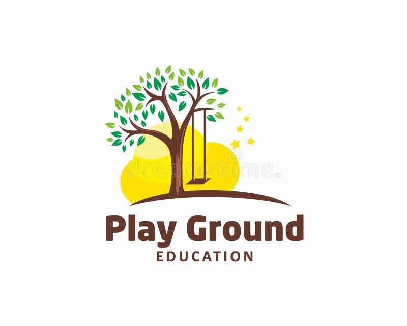Concepto de diseño del logotipo del patio para la plantilla del logotipo de la educación de los niños stock de ilustración