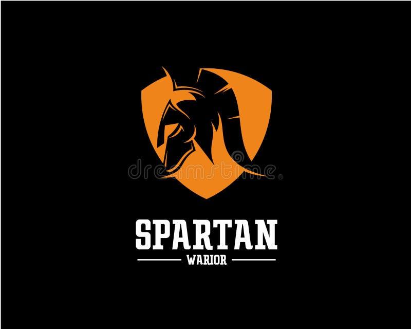 Concepto de diseño del logotipo de Spartan Warrior, plantilla del vector del logotipo del deporte stock de ilustración
