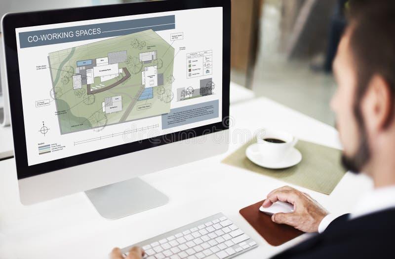 Concepto de diseño del modelo del mapa del plan de la arquitectura del espacio de funcionamiento del Co foto de archivo