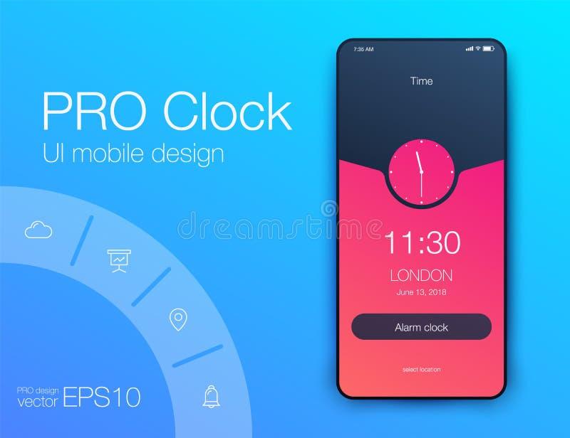 Concepto de diseño del uso UI del reloj del contador de tiempo Diseño de UX ilustración del vector
