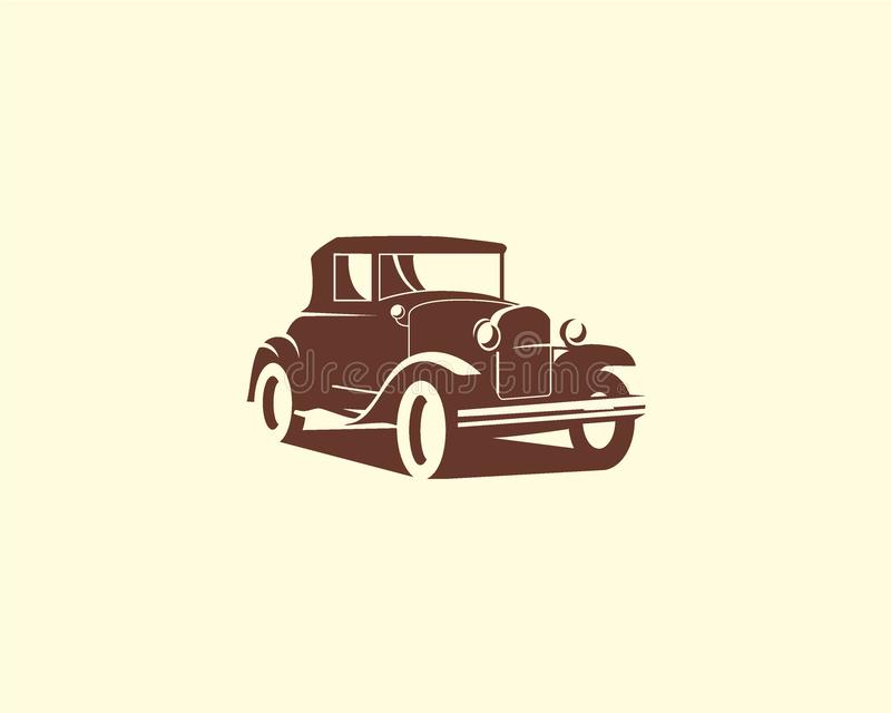 Concepto de diseño del vector del coche de la silueta, coche viejo, plantilla clásica del logotipo del coche ilustración del vector