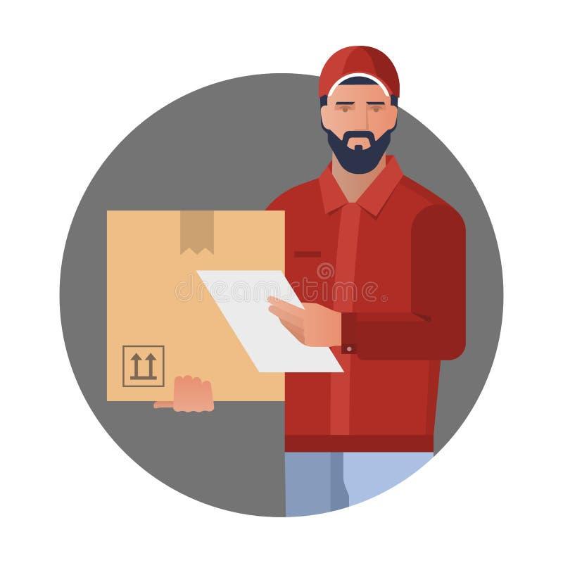 Concepto de diseño del vector con el ejemplo de un hombre barbudo del mensajero de un servicio de entrega del cargo stock de ilustración