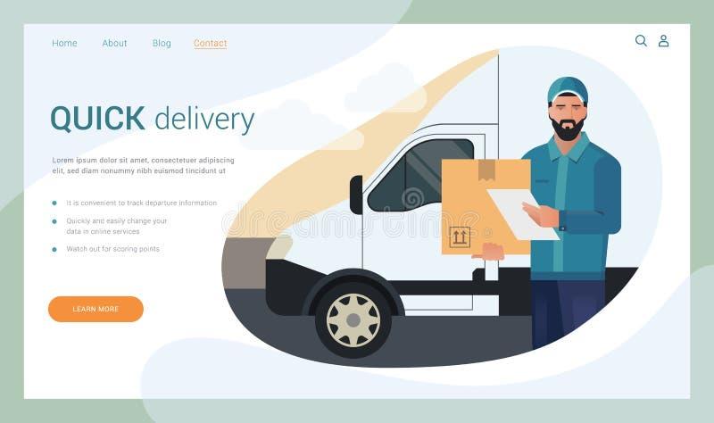 Concepto de diseño del vector de la página de aterrizaje con el ejemplo de un hombre barbudo del mensajero de un cargo ilustración del vector