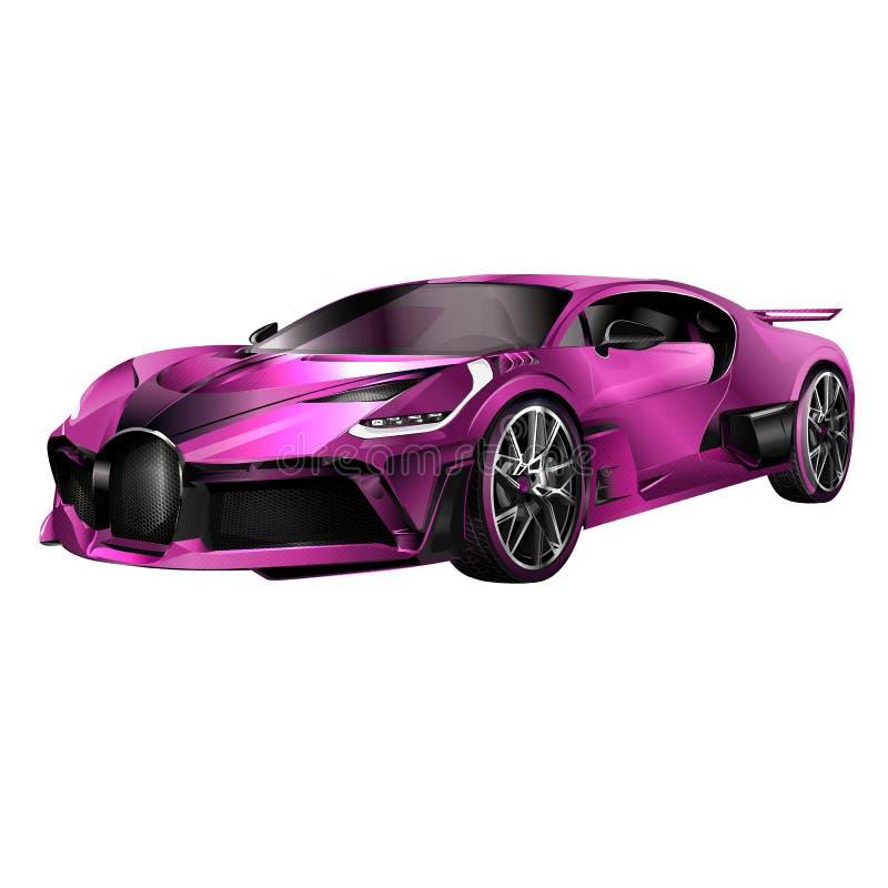 Concepto de diseño estupendo del coche Arte realista moderno único Automóvil de lujo genérico Vista lateral de la presentación an libre illustration
