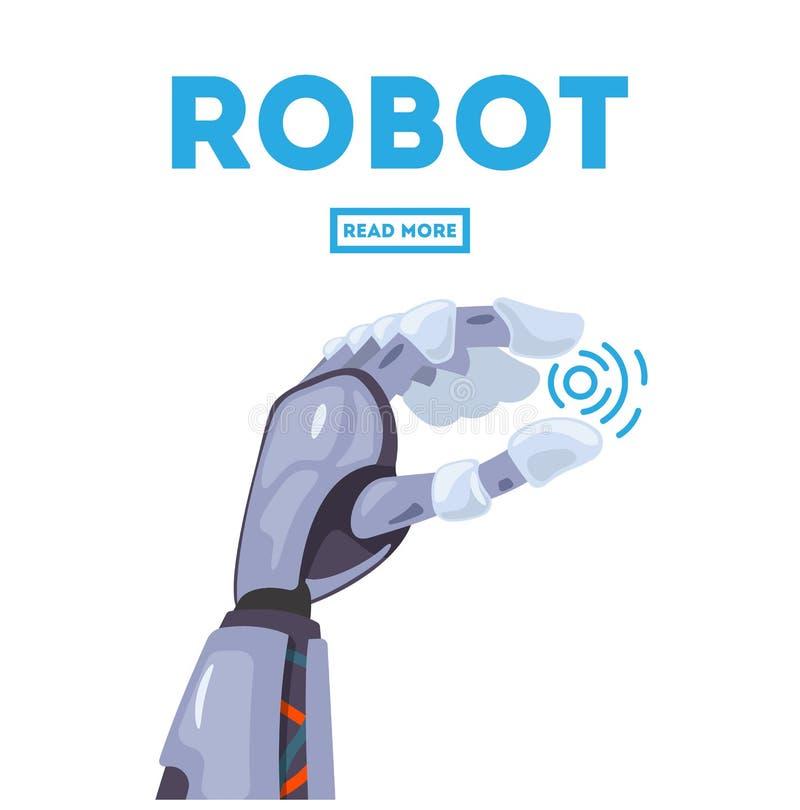 Concepto de diseño futurista de un brazo mecánico robótico Mano robótica Símbolo mecánico de la ingeniería de la máquina de la te stock de ilustración