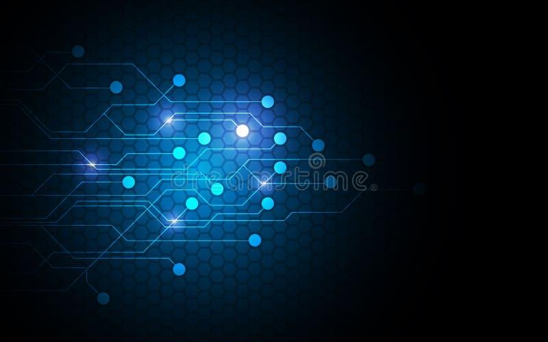 Concepto de diseño futuro del modelo del circuito de la innovación del establecimiento de una red de la tecnología abstracta del  stock de ilustración