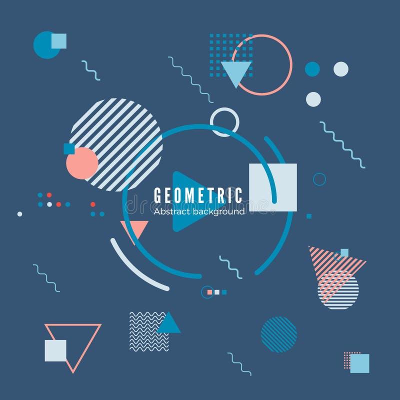 Concepto de diseño geométrico del movimiento Modelo simple de la geometría con el marco y el texto Impresión de la bandera de la  ilustración del vector