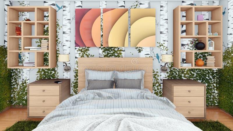 Concepto de diseño interior del dormitorio del verde de Eco 3D fotografía de archivo