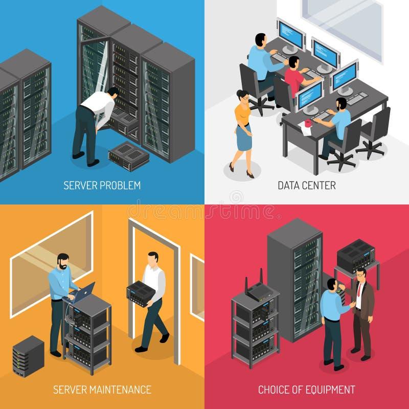 Concepto de diseño isométrico de Datacenter 2x2 stock de ilustración