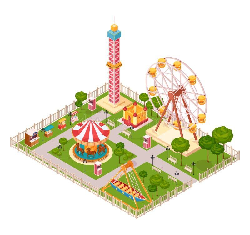 Concepto de diseño isométrico del parque de atracciones ilustración del vector