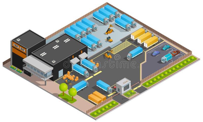 Concepto de diseño isométrico del transporte del cargo del camino libre illustration