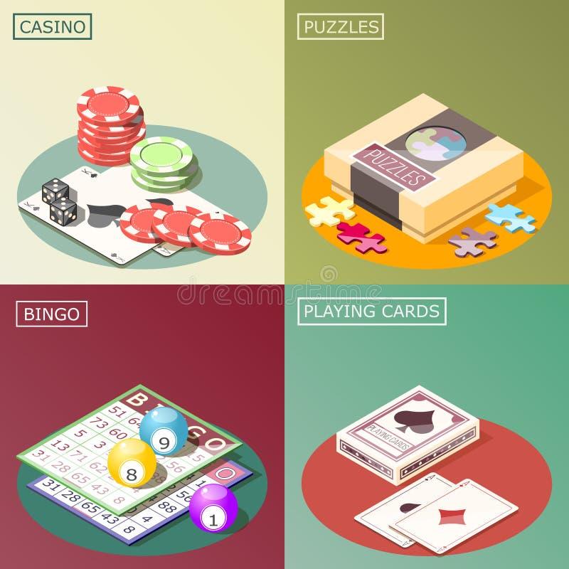 Concepto de diseño isométrico de los juegos de mesa stock de ilustración