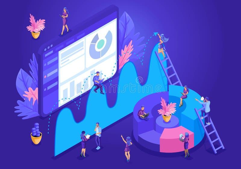 Concepto de diseño isométrico para la página de aterrizaje Concepto del análisis de datos con los caracteres Ilustración del vect stock de ilustración