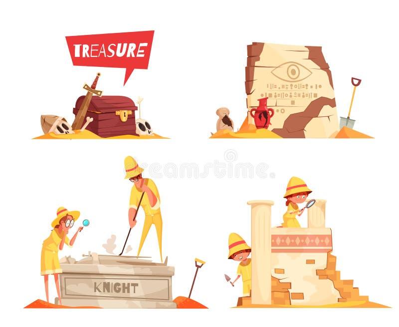 Concepto de diseño de la arqueología stock de ilustración