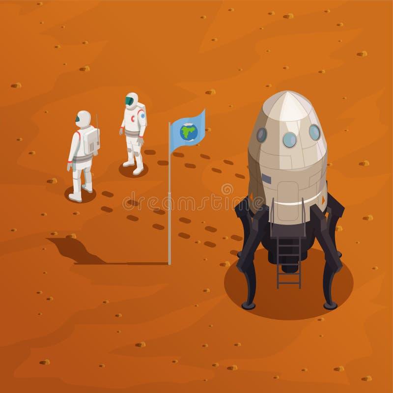 Concepto de diseño de la exploración de Marte ilustración del vector