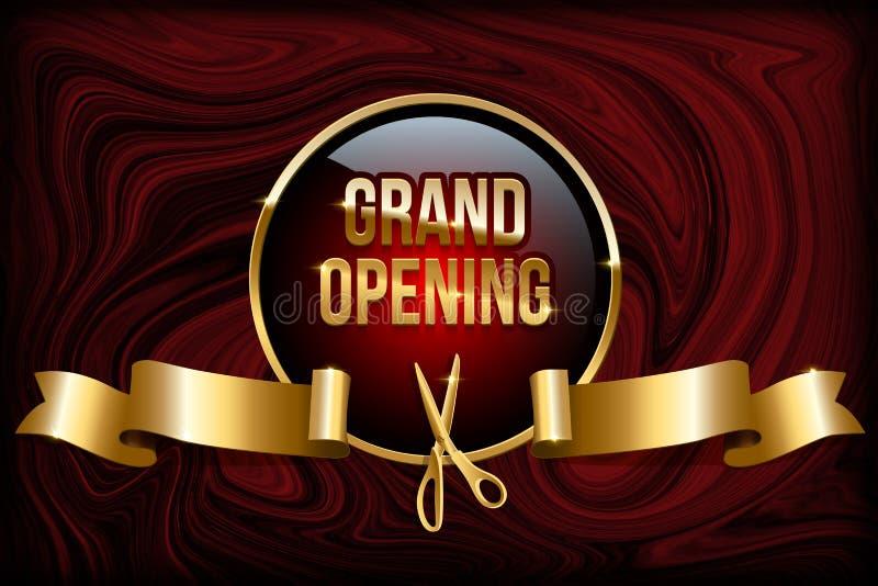Concepto de diseño de la gran inauguración Vector el anillo, las tijeras y la cinta de oro en fondo de mármol rojo stock de ilustración
