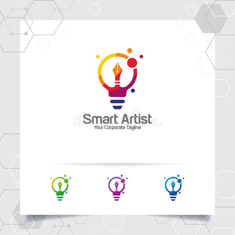 Concepto de diseño de la idea del bulbo del logotipo del escritor del icono del lápiz y del vector colorido de la lámpara Logotip stock de ilustración