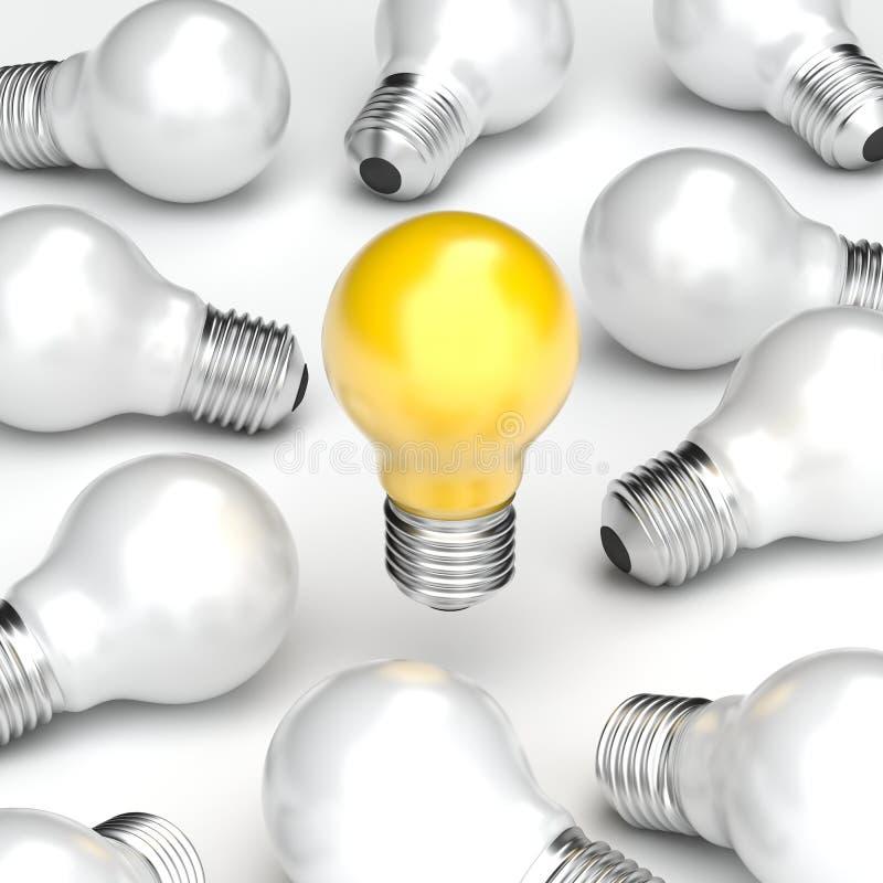 concepto de diseño de la idea del ejemplo 3d, soporte amarillo del bulbo solamente del fondo blanco del bulbo stock de ilustración