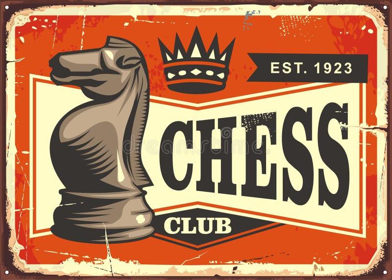 Concepto de diseño de la muestra de la lata del vintage del club de ajedrez stock de ilustración