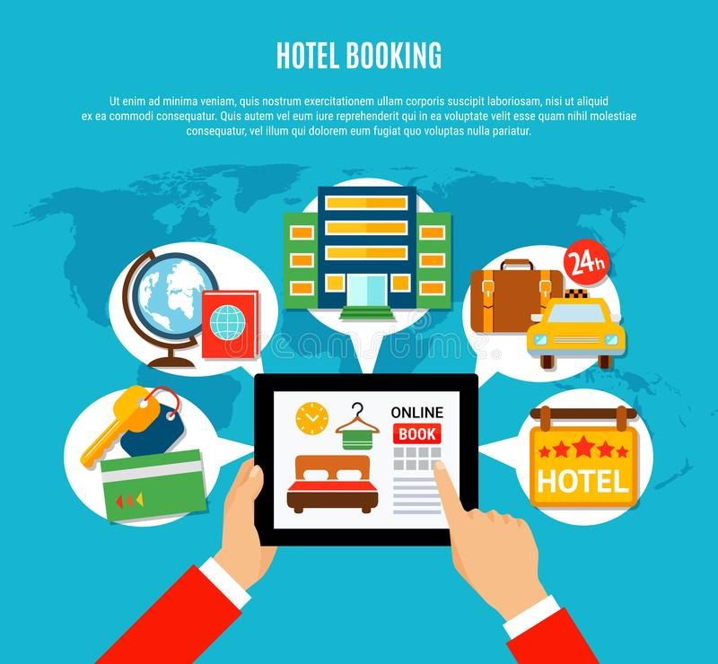 Concepto de diseño de la reservación de hotel stock de ilustración