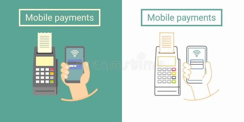 Concepto de diseño móvil del pago con el terminal y la mano que sostienen el teléfono Símbolo plano y linear ilustración del vector