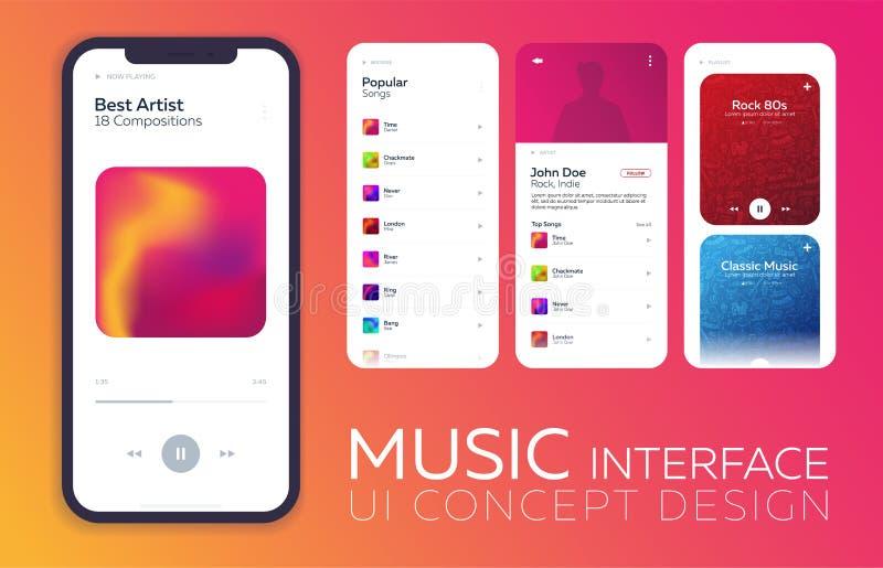 Concepto de diseño móvil del ui Interfaz del jugador de música Ilustración del vector ilustración del vector