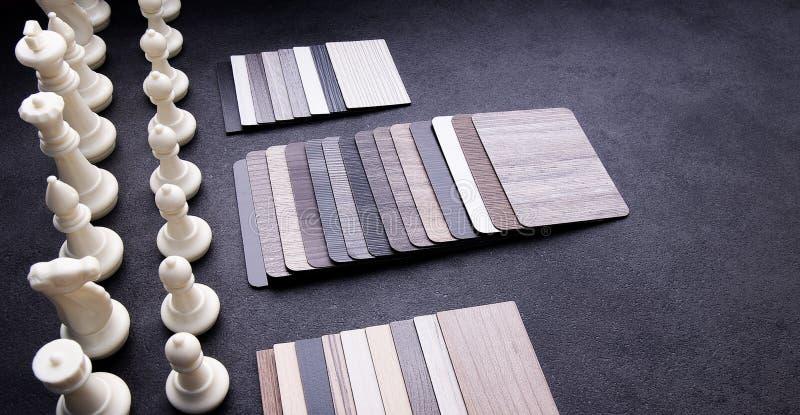 Concepto de diseño material interior Muestras de piso de madera de la textura de baldosa de la lamina y del vinilo Chapa de mader imagenes de archivo