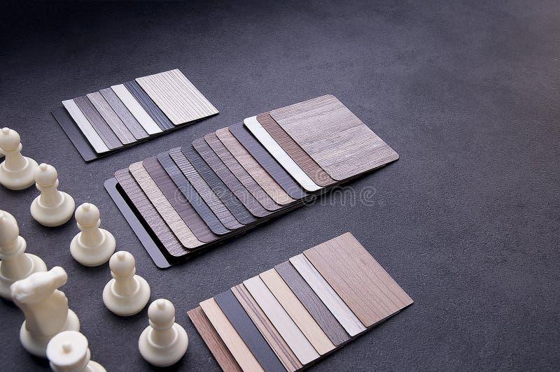 Concepto de diseño material interior Muestras de piso de madera de la textura de baldosa de la lamina y del vinilo chapa de mader foto de archivo libre de regalías