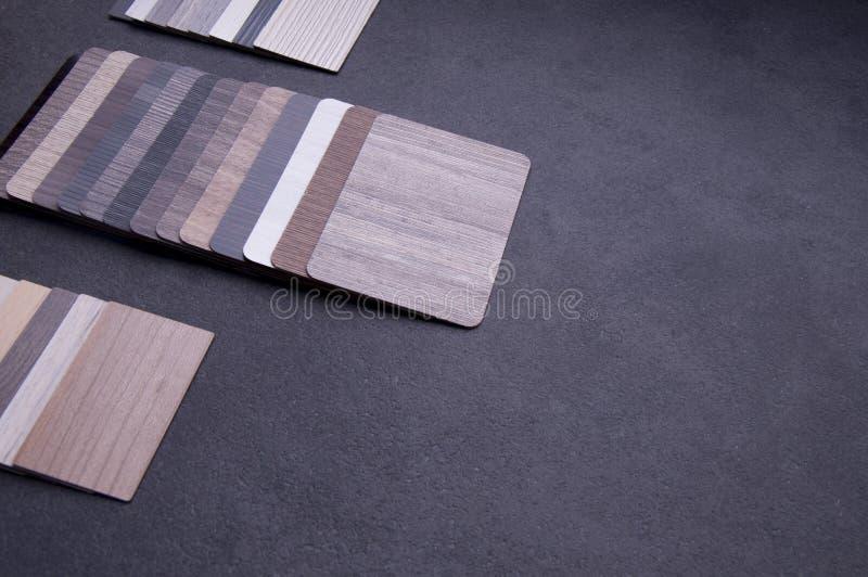Concepto de diseño material interior Muestras de piso de madera de la textura de baldosa de la lamina y del vinilo 4 foto de archivo libre de regalías